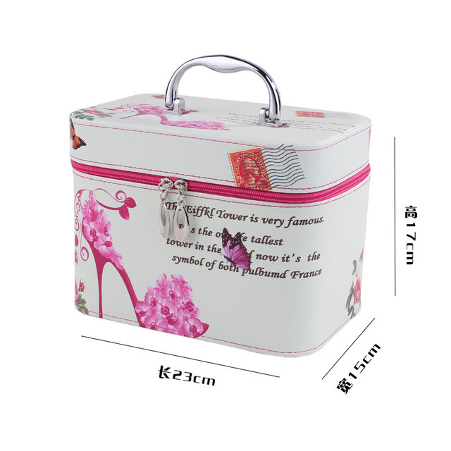 Cute Pattern Iron Tower Women Makeup Box Professional Portable Zipper Large Cosmetic Bag Much Colors 2