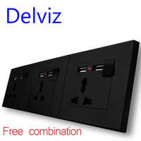 Delviz New EU Standard Power Socket, Outlet Panel, Triple Wall Power Outlet Without Plug,Free combination panel, wall usb socket