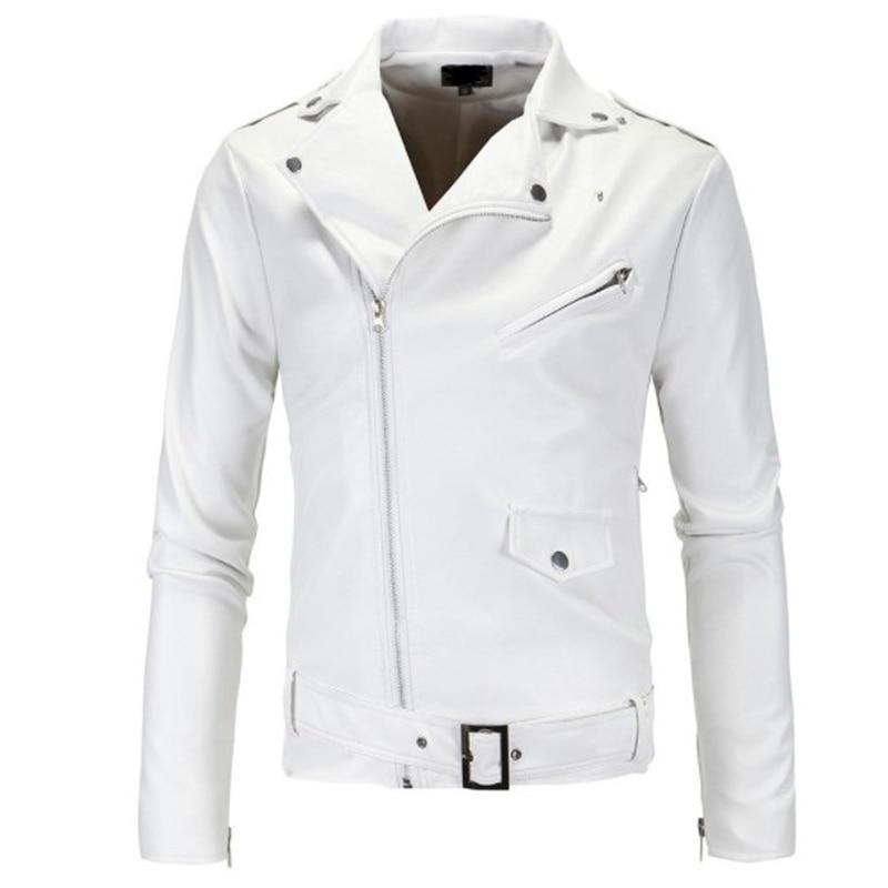White Black Men's PU Coat S-4XL Men Faux Leather Jacket Fashion Male Motorcycle Jacket 2019