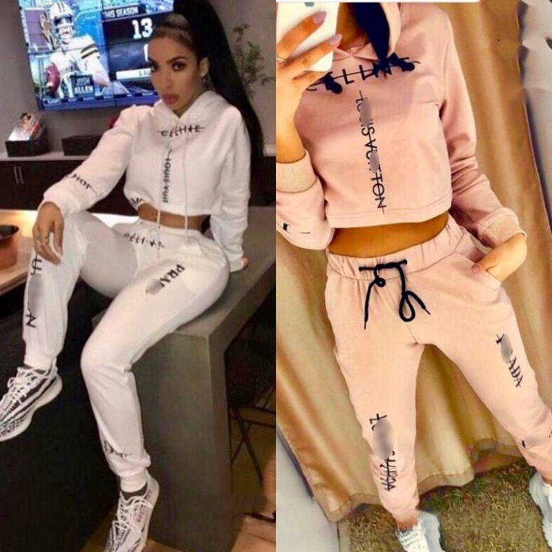 2020 European And American Women's New Fashionable Elegant Long Sleeve Hooded Jogging Sportswear Suit Autumn Winter 2-piece Set
