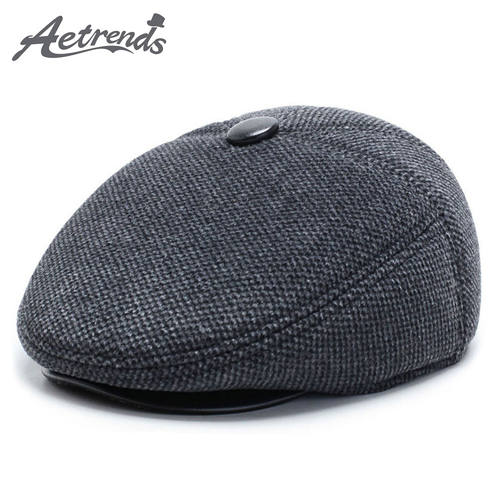 [AETRENDS] Winter Woolen Felt Newsboy Cap With Ear Flaps Gatsby Ivy Collection Classic Newsboy Cabbie Dad Hat Size S/M/L Z-10061