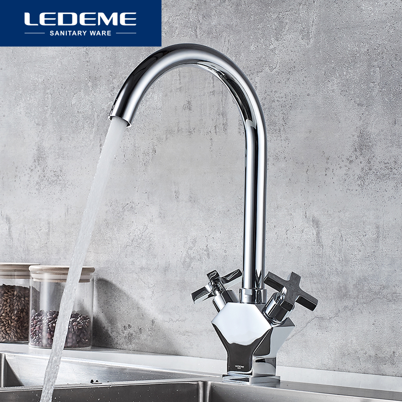LEDEME Tap Kitchen Faucet 360 Degree Rotation With Cold And Hot Water Double Handle Kitchen Sink Mixer Faucets Taps L4084-2