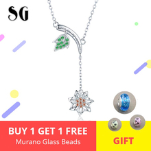 New Arrival Plant Collection 925 sterling silver Green Leaf Sunflower Necklace Authentic Sterling Silver Jewelry For Lover Gift