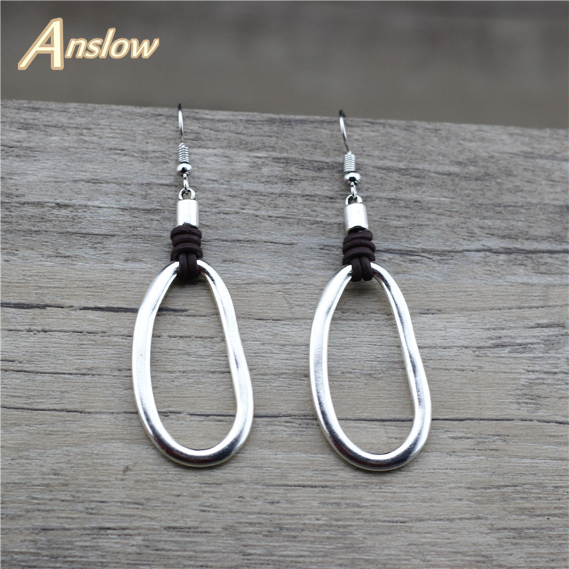 Anslow Fashion Jewelry Charm Retro Earring Accessories For Women Lady Leather Drop Earrings Boho Round Earrings LOW0040AE