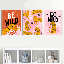 Wall Art Canvas Painting Nordic Print Poster Cartoon Wild Animal Leopard Leaf Nursery Pictures Baby Kids Room Home Decor Modular astronaut spaceship canvas poster nursery quotes wall art print cartoon painting nordic kids decoration pictures baby room decor