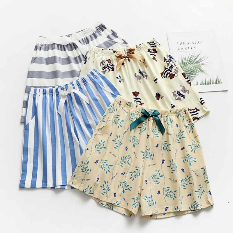 Lato dorywczo w paski słodkie krótkie spodnie damskie spodnie do spania piżamy druku bawełna luźne Cofortable spodenki