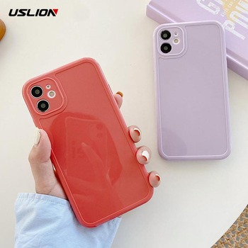 USLION Soft Silicone Candy Color Phone Cover For iPhone 12 Pro 11 Pro Max X XR XS Max 7 8 7Plus Shockproof Plain Fitted Cover image