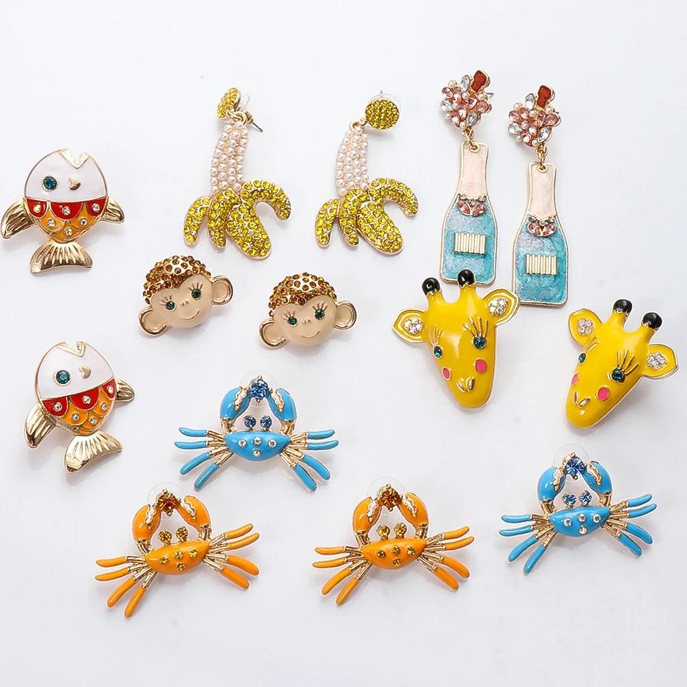 Cute Animal Stud Earrings for Women Fairy Gold Cubic Zirconia Earrings Girls Birthday Party Gift Jewelry Pendientes