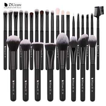 DUcare Make Up Brushes Professional Natural goat hair Makeup Brushes set Foundation Powder Concealer Contour Eyes Blending brush beili complete professional 25 pieces foundation powder concealer eyes hadow makeup brush set