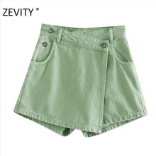 ZEVITY-pantalones cortos con bolsillos y botones para mujer, faldas informales, delgadas, con cremallera, P928