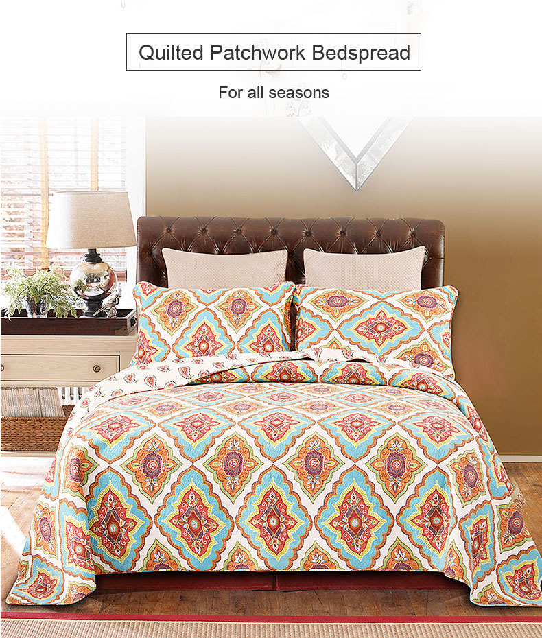 Quilt Set 100 Cotton Patchwork Floral Vintage Antique 3 Piece Reversible Bedding Quilts Bedspreads Coverlets Home Garden
