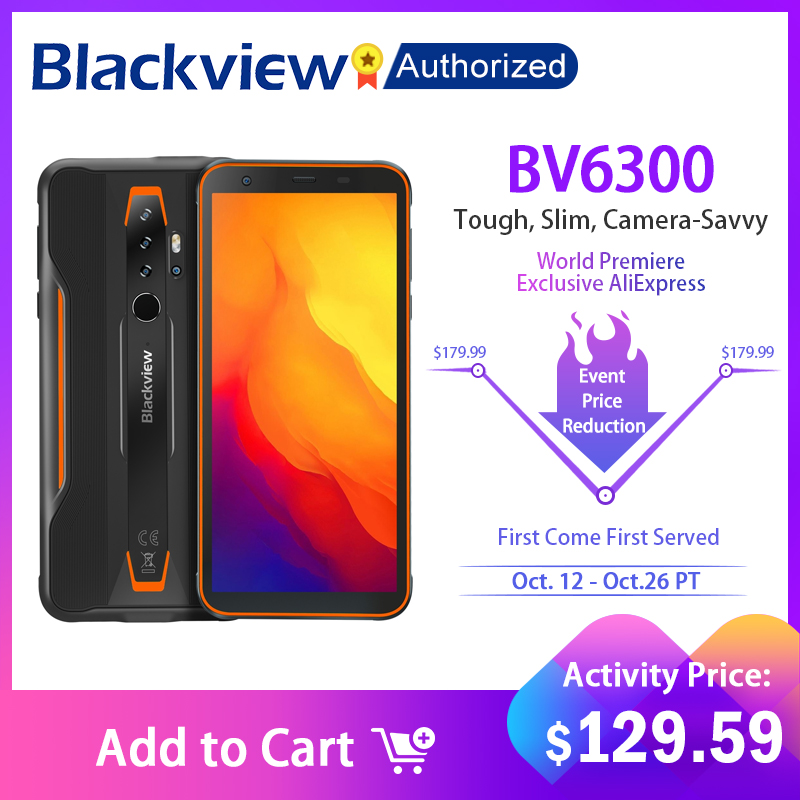 BLACKVIEW BV6300 IP68 Waterproof 5.7 inch Screen Rugged Phone Helio A25 3GB+32GB Smartphone 4380mAh Android 10 Mobile Phone NFC 1