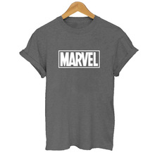 2019 Summer MARVEL Letter Printed T-Shirt Woman cotton Short Sleeves Casual Marvel Tee Shirt Femme Tops Plus Size Funny T Shirts недорого