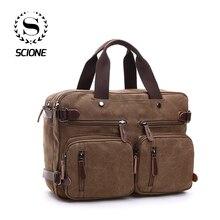 Купить с кэшбэком Scione Men Canvas Bag Leather Briefcase Travel Suitcase Messenger Shoulder Tote Back Handbag Large Casual Business Laptop Pocket