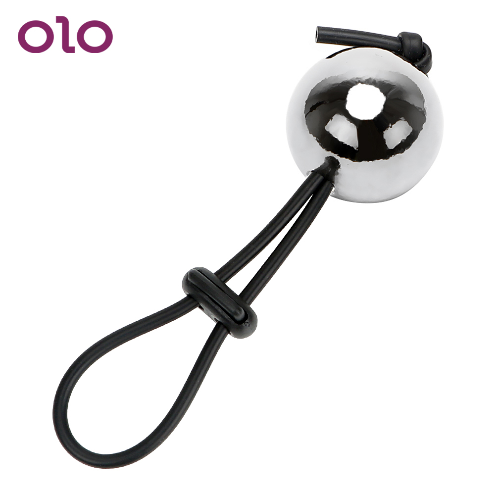 OLO <font><b>Adult</b></font> Product Male Penis Extender Enlargerment Time Delay Ejaculation <font><b>Sex</b></font> <font><b>Toys</b></font> <font><b>for</b></font> <font><b>Men</b></font> Cock Rings With a Metal <font><b>Ball</b></font> image