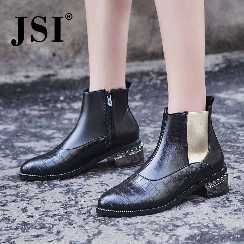 JSI Ankle Women Boots Pointed Toe Microfiber Slip-On Solid Square Heel Shoes Metal Decoration Handmade Basic Boots Women JE7