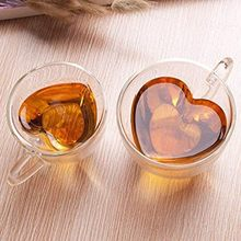 O amor do coração deu forma a caneca de vidro dobro da parede resistente kungfu caneca de chá leite suco de limão copo drinkware amante copos de café caneca presente