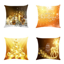 Christmas 4PC luxury Gold Zipper Sofa Snowman Throw Pillows set Cushion Cover Decorativos Coussin Pillow Case Eco-Friendly A19(China)