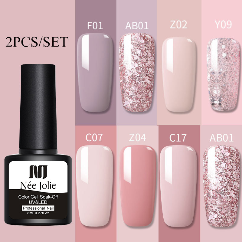 2pcs/set Glitter Nude  UV Gel Nail Polish Set Pink Color Series Led Nail Gel Varnish  Rose Nail Gel