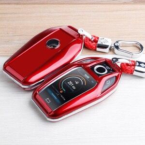 Image 3 - פחמן סיבי ABS מפתח מקרה מפתח פגז מרחוק מגן עבור BMW 6 7 סדרת 740 6 סדרת GT 5 530i x3 Keychain תיק אביזרי רכב