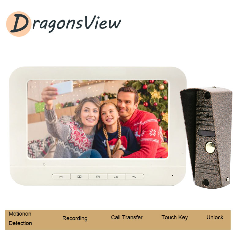 Dragonsview Video Doorbell Home Intercom Wired Video Door Phone Intercom System Day Night Vision IP65 Waterproof Outdoor Camera