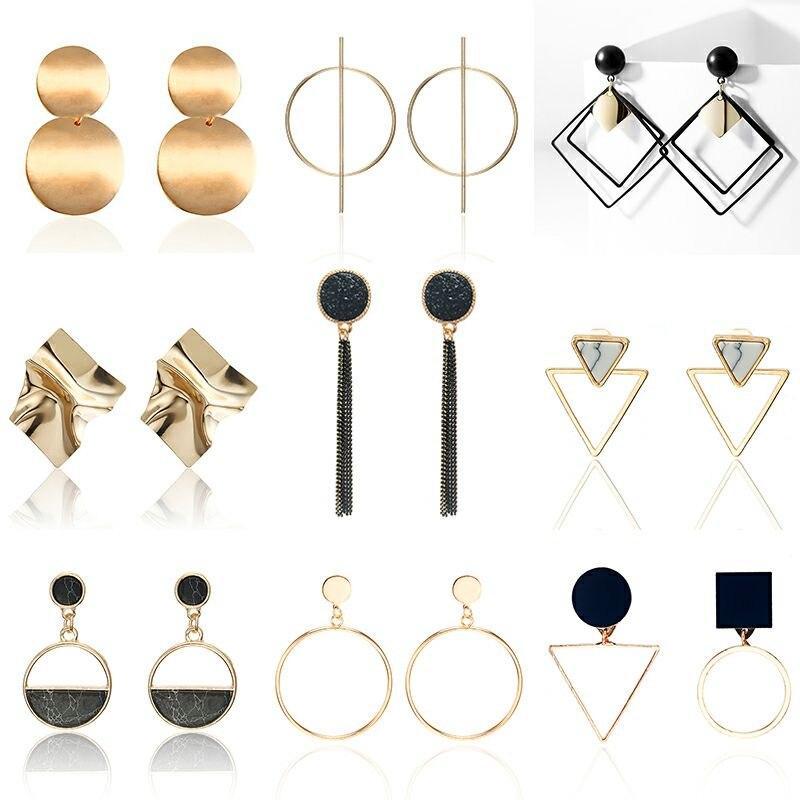 Trendy Elegant Geometric Drop Earrings For Women Fashion Jewelry Silver Color Dangle Earring Gift For Party Best Friend Bijoux