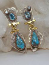 Женские винтажные серьги подвески в стиле бохо висячие с синим