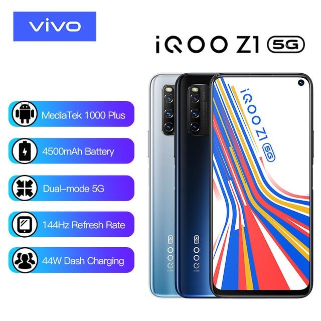 Vivo iQOO Z1 5G 6GB 128GB MediaTek 1000 Plus Mobile Phone Cellular 4500mAh 44W Charging 144Hz Refresh Rate Cell phone Electronics Mobile Phones