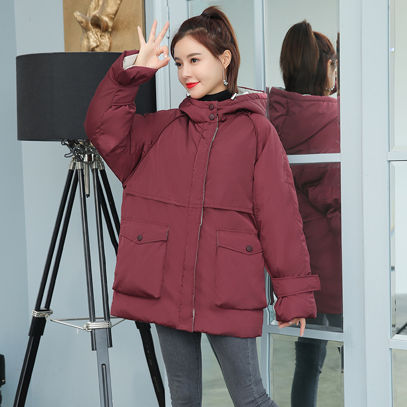 2019 Winter New Style Down Coat Women's Mid-length Korean-style Loose Thick Versatile Short-height Cotton Coat New Style