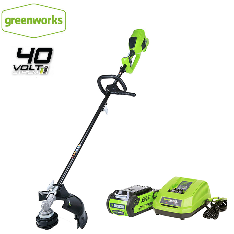 GreenWorks Brushless Motor 800W Powerful Grass Trimmer G-MAX 40V 14-Inch Cordless String Trimmer ,4Ah Battery  Charger Included