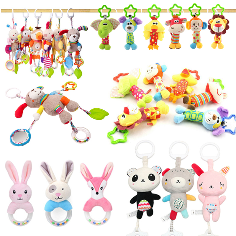 New Montessori Rattles Animal Bed Bell Mobiles Toddler Toys Crib Toys For Kids Soft Musical  Educational Newborn Baby Rattles