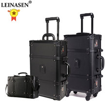 LEINASEN Retro Rolling Luggage Set Spinner Women Password Trolley 24 inch Suitcase Wheels 20 inch Vintage Cabin Travel Bag Trunk(China)