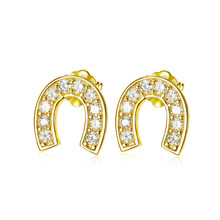 Personalized girly exquisite s925 sterling silver earrings fashion small fresh and cute U-shaped horseshoe earrings