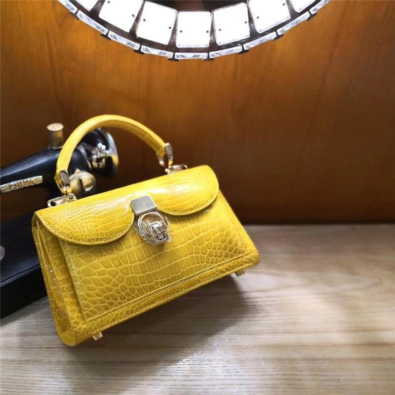 Bag Alligator Hand-Bag Famous-Brand Crocodile Leather Women 100%Real