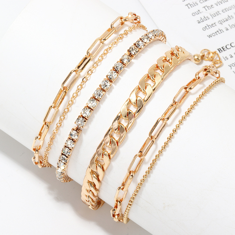 Punk Gold Color Alloy Anklet for Women Rhinestone Ankle Chain 2020 Summer Fashion Beach Bead Bracelet on The Leg Foot Jewelry