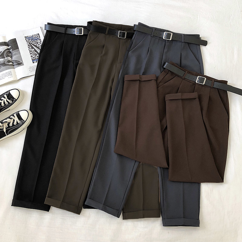 Spring Official Trousers Women Black High Waist Harem Pants With Belt 2020 Korean Harajuku Ankle-Length Casual Pants