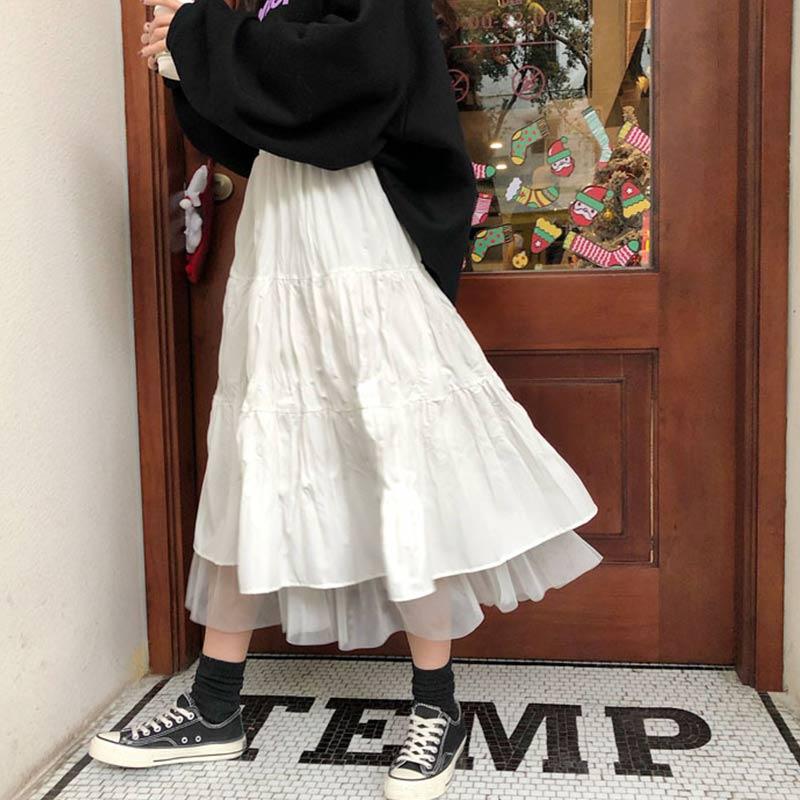 Длинные тюлевые Платья-миди, женские юбки, плиссированные юбки, сетчатая уличная одежда с высокой талией, платье в Корейском стиле для подро...