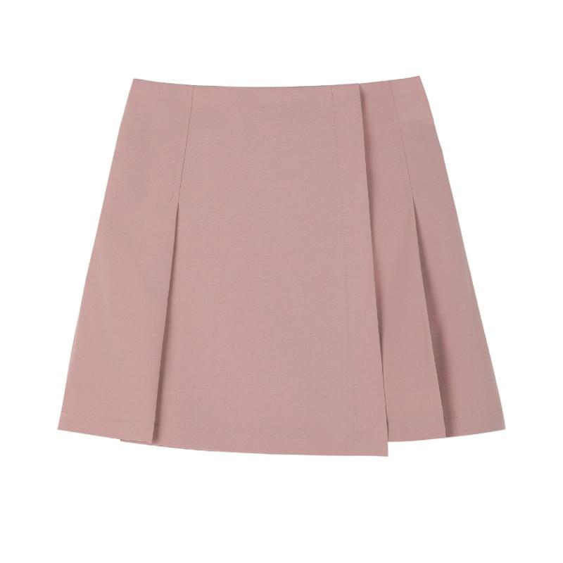 New Pleated Women Mini Skirt Casual High Waist A-line Female Short Skirt Korean Preppy Style Cute Pink Skirts 5