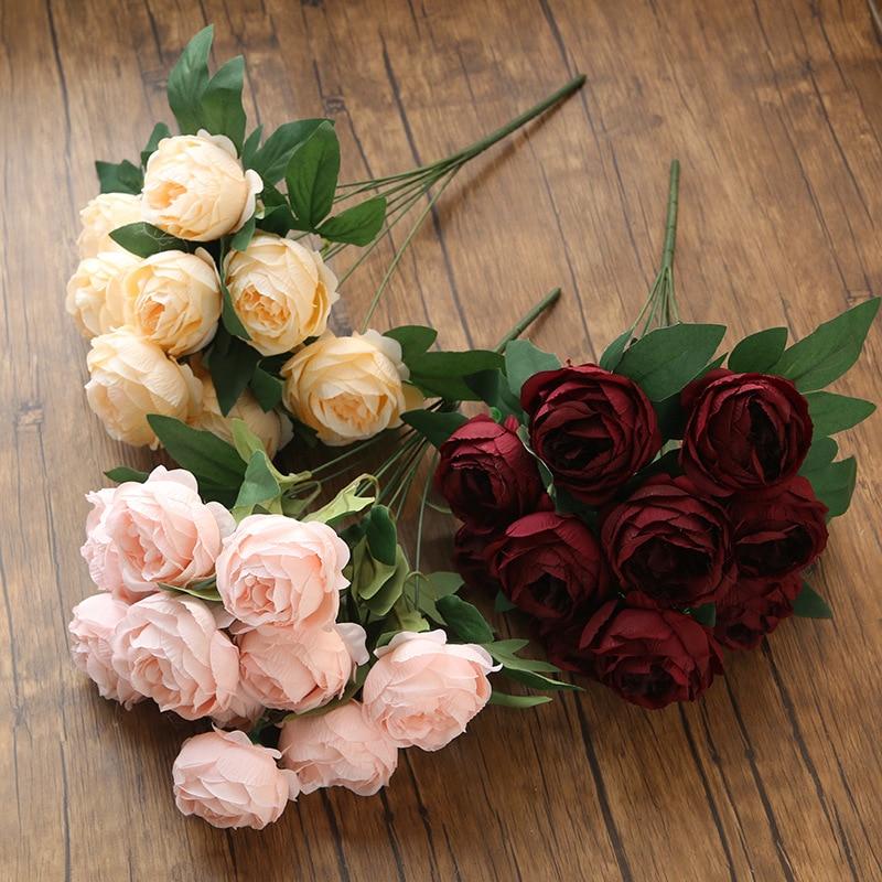 10 головок Искусственный Пион Букет украшение для дома Цветочная композиция, поддельные пионы цветы Свадебная вечеринка украшения