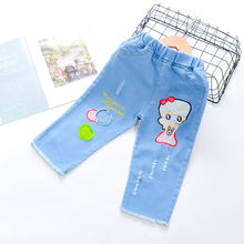 Джинсы для детей джинсы с мультяшным принтом милые девочек штаны