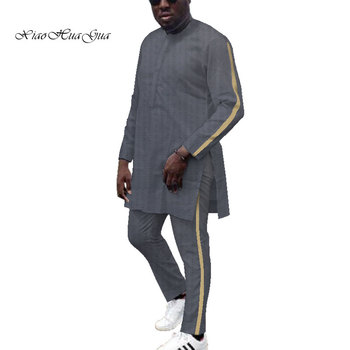 Dashiki Mens African Clothing Dashiki Shirts and Pant 2 Pieces set Plus Size African Cotton Clothing Long SLeeve O neck  WYN687