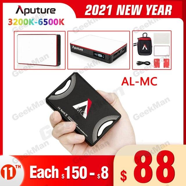 Instock aputure AL MC luz led portátil com hsi/cct/fx 3200 k 6500 k iluminação de fotografia al mc iluminação de vídeo mini luz rgb
