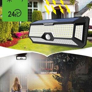 Image 4 - LED de luz de la noche con Sensor de movimiento Solar Powered noche lámpara impermeable al aire libre del Jardín camino calle lámpara de pared luminaria luz nocturna
