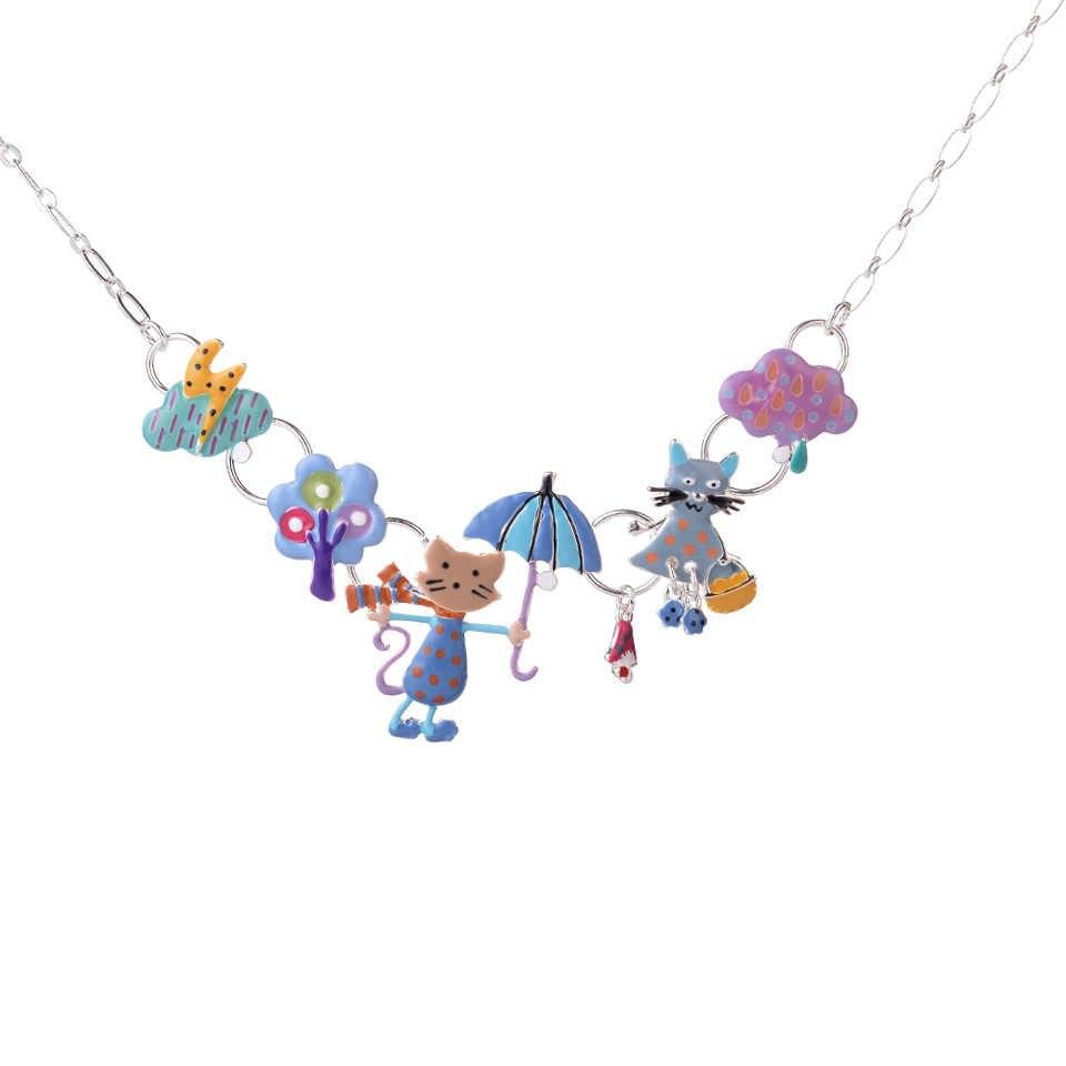 Karikatür hayvan yavru kolye ve kolye çocuklar için Charm kadınlar emaye alaşım kedi kolye kolye gerdanlık sıcak tasarımcı takı