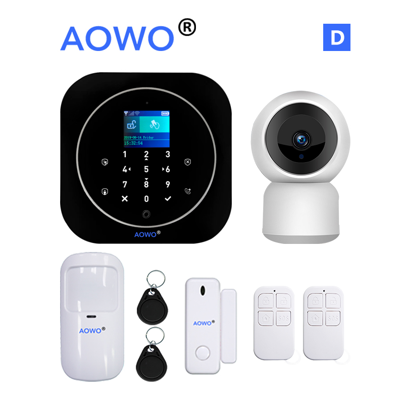 Tuya WiFi GSM Wireless Security Alarm With TFT Touch Screen Tuya APP Amazon Alexa Google Home Voice Control IP Camera Monitoring