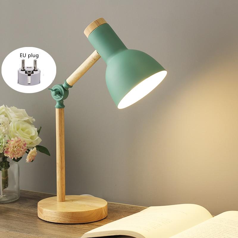 Nordic Table Lamp Modern Bedroom Bedside Lamp Kids Children Office Reading Study Lamp Adjustable Ins Industrial Desk Lamp E27 EU