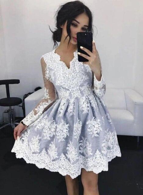 Gris dentelle courte robe de bal manches longues robe de bal vestido de festa robes femme fête nuit vestidos de gala