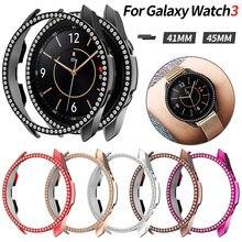 Coque de protection antichoc en diamant pour femmes, pour Samsung Galaxy Watch 3 41mm 45mm, cadre léger scintillant