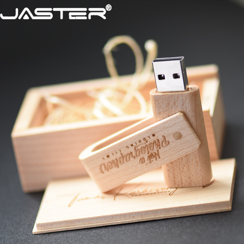 JASTER Free Shipping  (free Custom Logo ) Wooden Spin + Box USB 2.0 Pendrive 4GB 8GB 16GB 32GB 64GB 128GB Usb Flash Drive