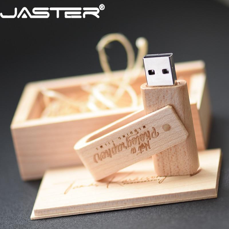 JASTER Free Shipping  (free Custom Logo ) Wooden Spin + Box USB 2.0 Pendrive 4GB 8GB 16GB 32GB 64GB 128GB Usb Flash Drive